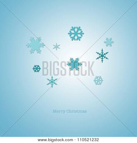 Sleek Modern Merry Christmas Card With Blue Paper Snowflakes