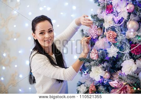 Happy Woman And Christmas Tree.