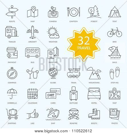Set of Travel Icon Linear Design