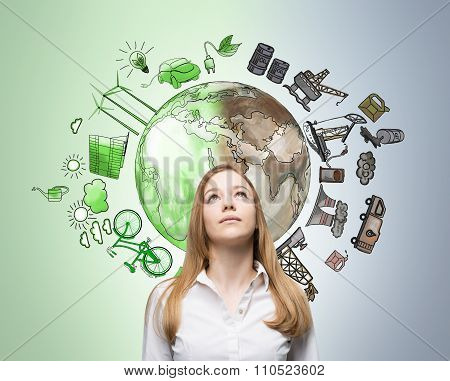 Woman Thinking About Environment, Oil Production And Ecoenergy Icons Behind