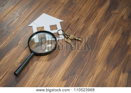 Paper House And Key With Magnifying Glass, House Hunting