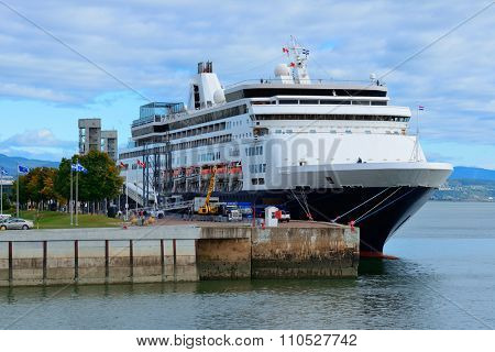 QUEBEC CITY, CANADA - SEP 10: Cruise ship at port on September 10, 2012 in Quebec City, Canada. As the capital of the Canadian province of Quebec, it is one of the oldest cities in North America.