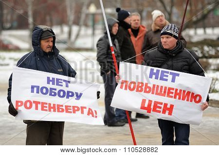 Orel, Russia - December 05, 2015: Truck Drivers Picket. Men With Banners