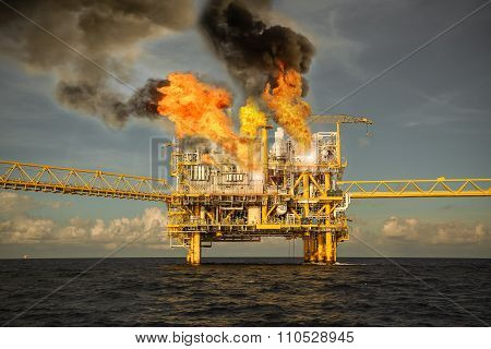 offshore oil and gas fire case or emergency case, firefighter operation to control fire