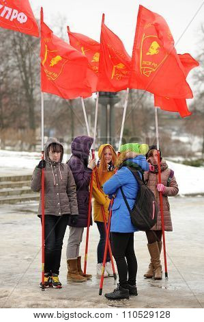 Orel, Russia - December 05, 2015: Truck Drivers Picket. Young Girls With Red Communist Flags