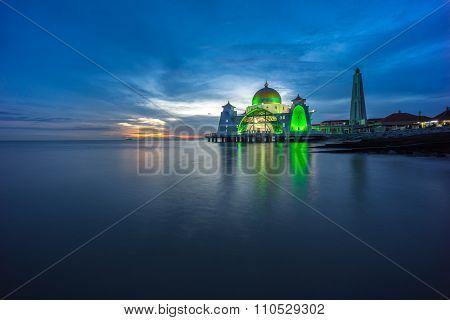Malacca Straits Mosque. Sunset.