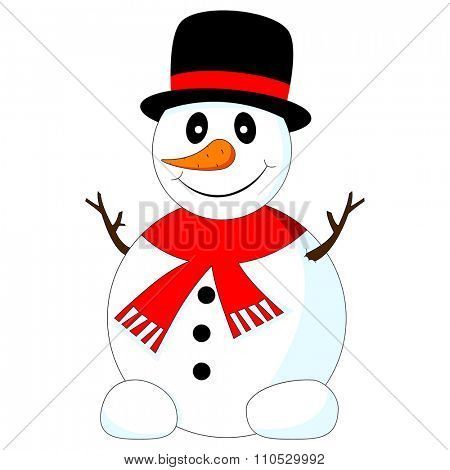 Vector illustration of a funny snowman with black hat on a white background