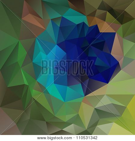 Vector Polygon Background With Irregular Tessellations Pattern - Triangular Design In Peacock Plume