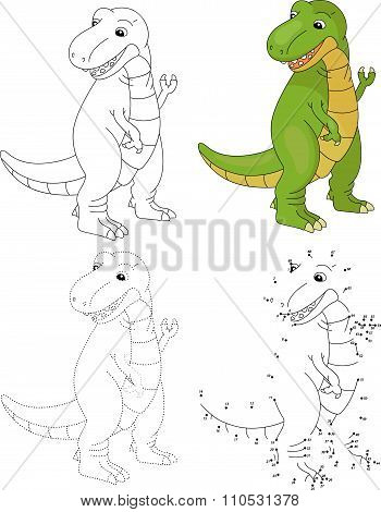 Cartoon Tyrannosaur. Vector Illustration. Dot To Dot Game For Kids