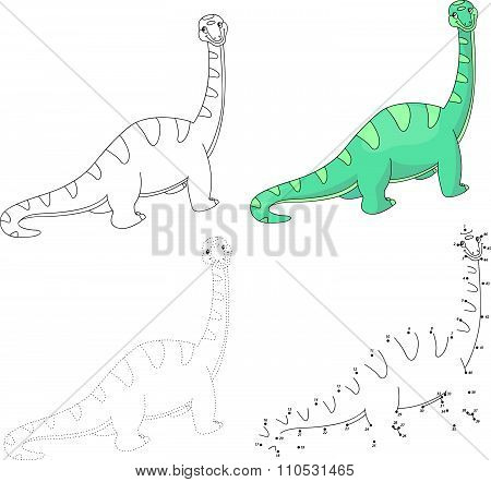 Cartoon Diplodocus. Vector Illustration. Dot To Dot Game For Kids