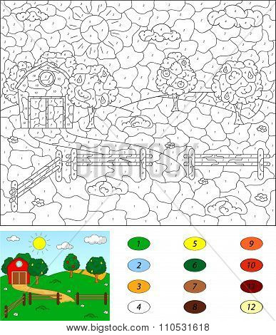 Color By Number Educational Game For Kids. Rural Landscape With Barn, Corrals, Fruit-trees And Field