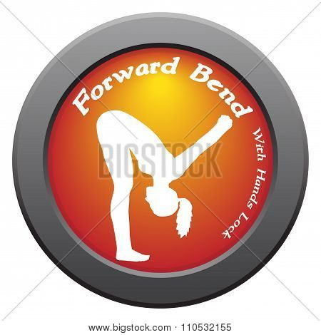 Yoga Forward Bend With Hands Lock Pose Red Icon