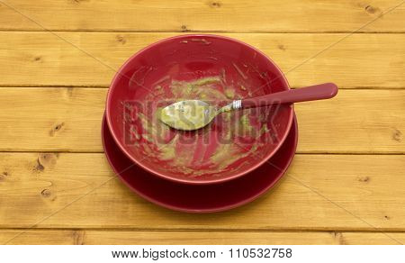 Empty Soup Bowl With Remainder Of Soup