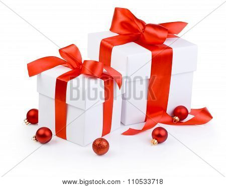 Two White Gift Boxs Tied Red Ribbon And Christmas Balls Isolated On White Background