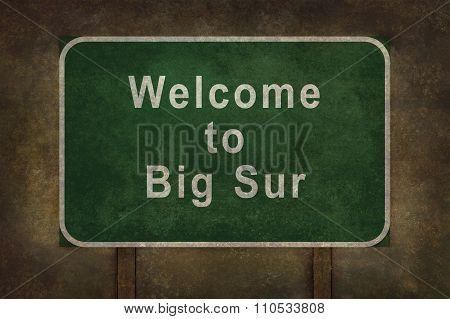 Welcome To Big Sur, Roadside Sign Illustration