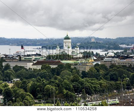 View Of The Ferris Wheel And The Cathedral In Helsinki.finland.