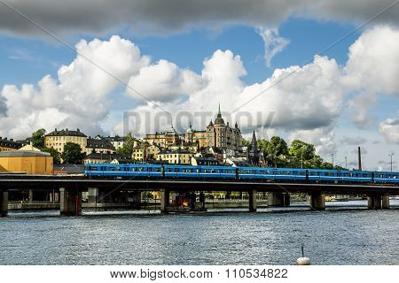 View Of The Metro Bridge And The Coastal Area In Central Stockholm.sweden.