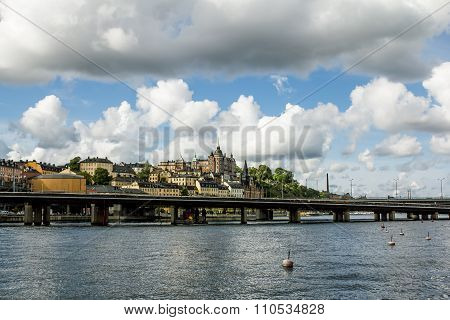 September 4 2015 .Stockholm.View of the metro bridge and the coastal area in Central Stockholm.Sweden.