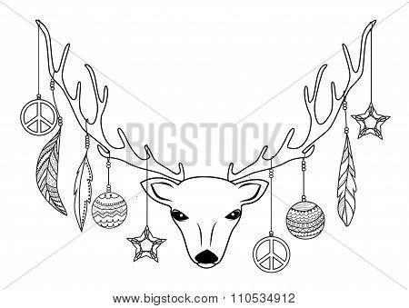 Christmas deer head