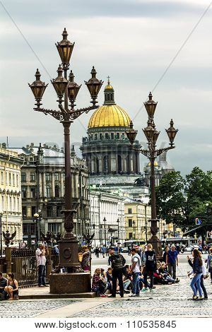 View Of Palace Square And St. Isaac's Cathedral In St. Petersburg.russia.