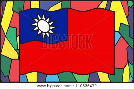 Taiwan Flag On Stained Glass