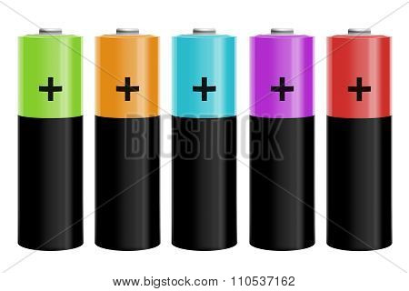 Illustration Of Five Colored Batteries
