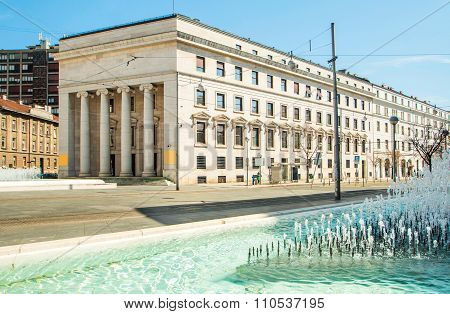 Croatian national bank palace and fountain in Zagreb
