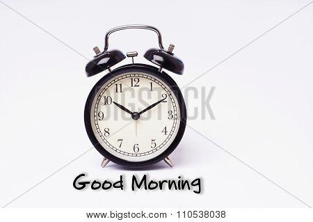 Retro Alarm Clock And Good Morning Word