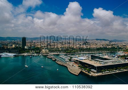 Panorama on haven in Barcelona city .