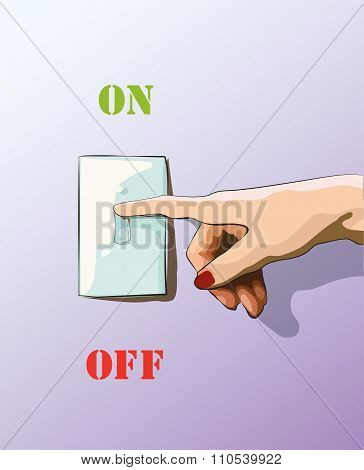 Turn Off Toggle Style Electric Light Wall Switch. Conserve Energy. Vector