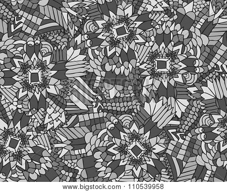 Zentangle Background Unuasual Grey 1