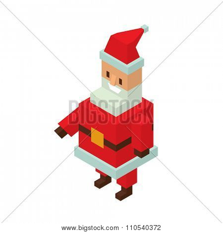 Santa Claus 3d isometric vector illustration. Santa Claus cartoon old man with red hat and sack. Santa Claus traditional costume. Santa Claus 3d isometric.