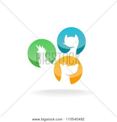 Parrot, Cat And Dog Silhouettes In A Round Badges. Pet Shop Store Logo.