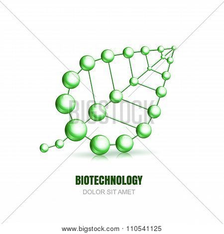 Abstract Molecular Cell Structure Of Leaf.