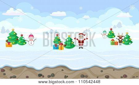 Seamless Winter Landscape With Christmas Characters For Game Design