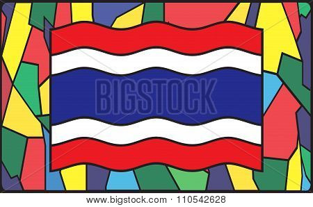 Thailand Flag On Stained Glass