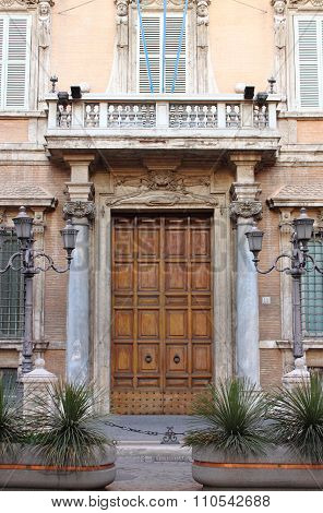 Entrance door of Madama Palace in Rome