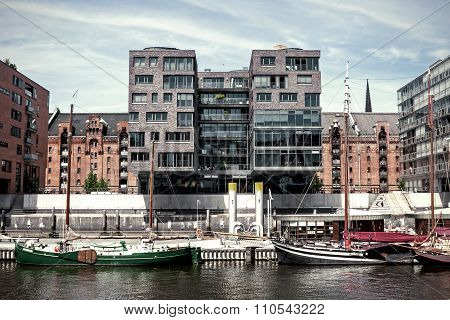A Perfect Combination Of Historic Past And Modern Architecture In The Harbor District Of Hamburg