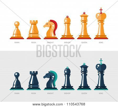 Flat design isolated named chess icons. Collection of the king, queen, bishop, knight, rook, and paw