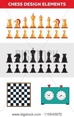Flat design isolated black and white chess figures with chessboard, clock. Collection of the king, q
