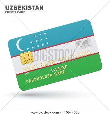 Credit card with Uzbekistan flag background for bank, presentations and business. Isolated on white