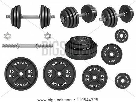 Studio shots of a barbells weights and dumbbells