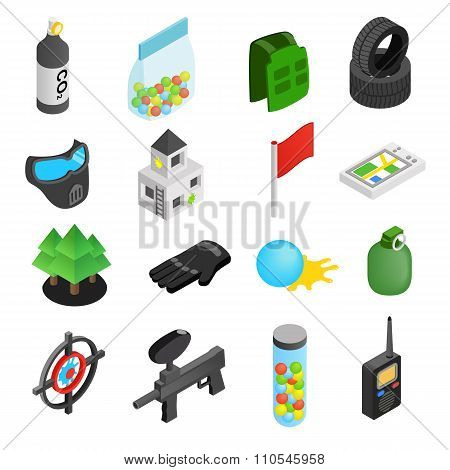 Paintball game isometric 3d icons