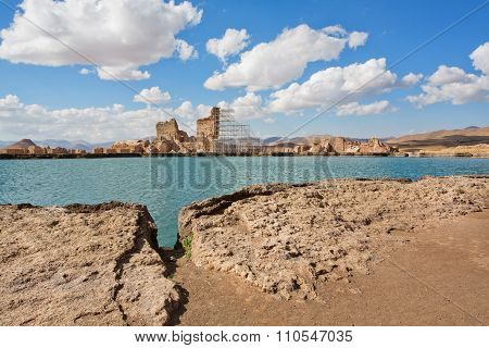Deep Lake With The Zoroastrian Fire Temple Takht-e Soleyman In Mountains Of Iran.