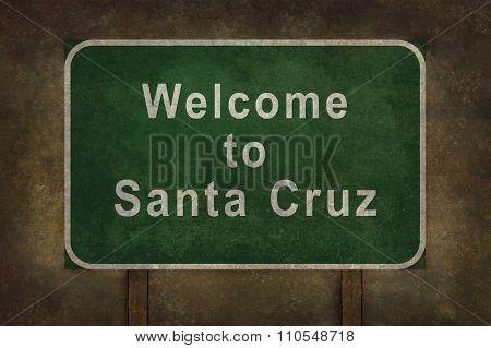 Welcome To Santa Cruz, Roadside Sign Illustration