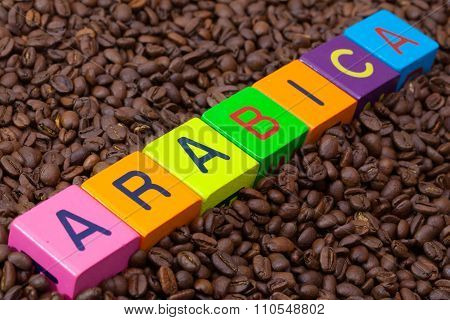 Colored  Cubes And Coffee Beans