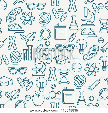 Vector Seamless Pattern With Outline Symbols Of Science, Education And Research.