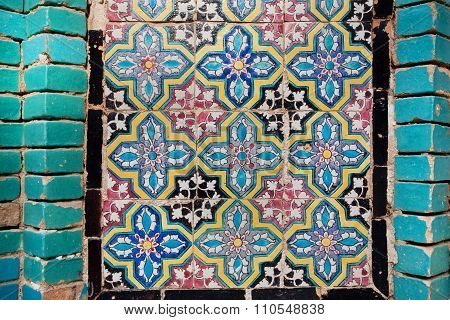 Pattern On The Tile Of The Wall Of An Historical Building In Iran