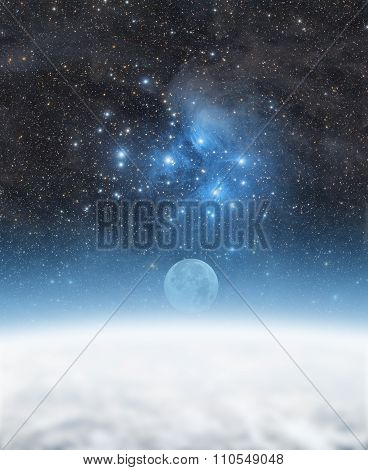Earth with starry background.