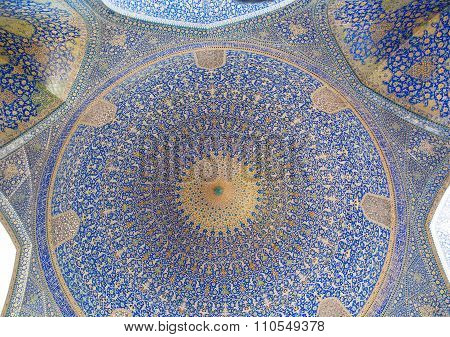 Patterns Under The Dome Of The Ancient Iranian Mosque With Blue Color Mosaic And Tiles, Iran.